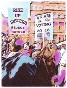 illustration of women at a protest holding up signs