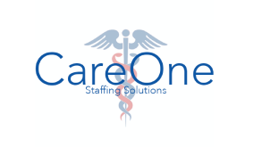 Care One staffing solutions logo with RX symbol