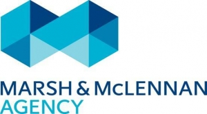 Marsh and McLennan Agency with blue geometric shapes logo
