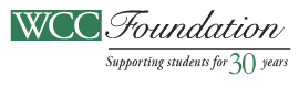 WCC Foundation logo - supporting students for 30 years